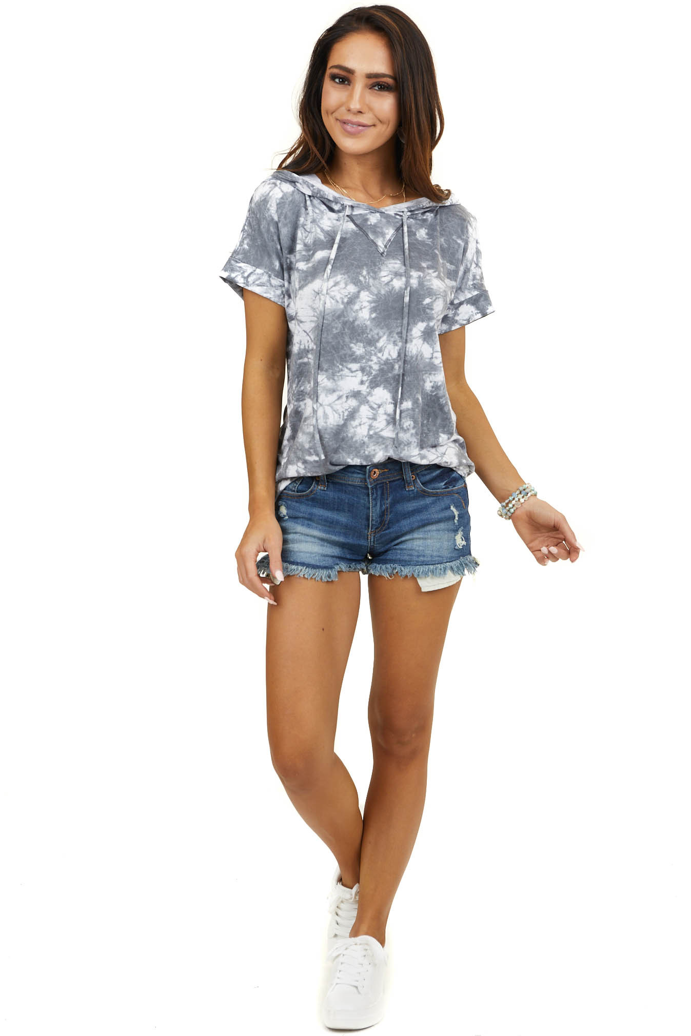 Charcoal and Ivory Tie Dye Short Sleeve Tee Shirt Hoodie