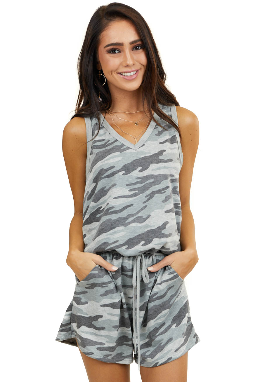 Charcoal Grey Camo Romper with Side Pockets and Waist Tie