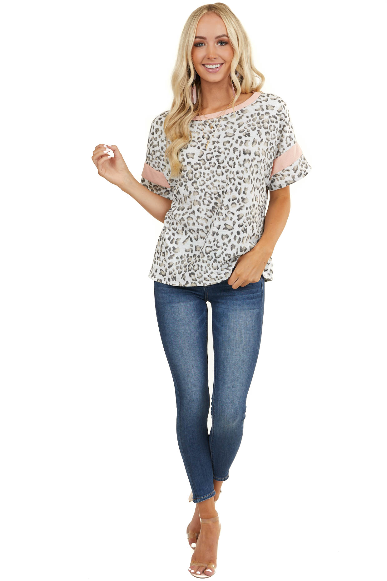 Heather Grey Leopard Print Top with Blush Contrast Details