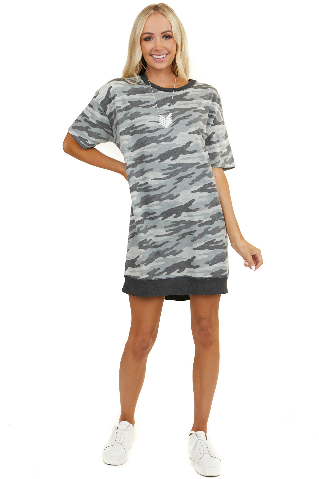 Charcoal Camo Print French Terry Dress with Short Sleeves