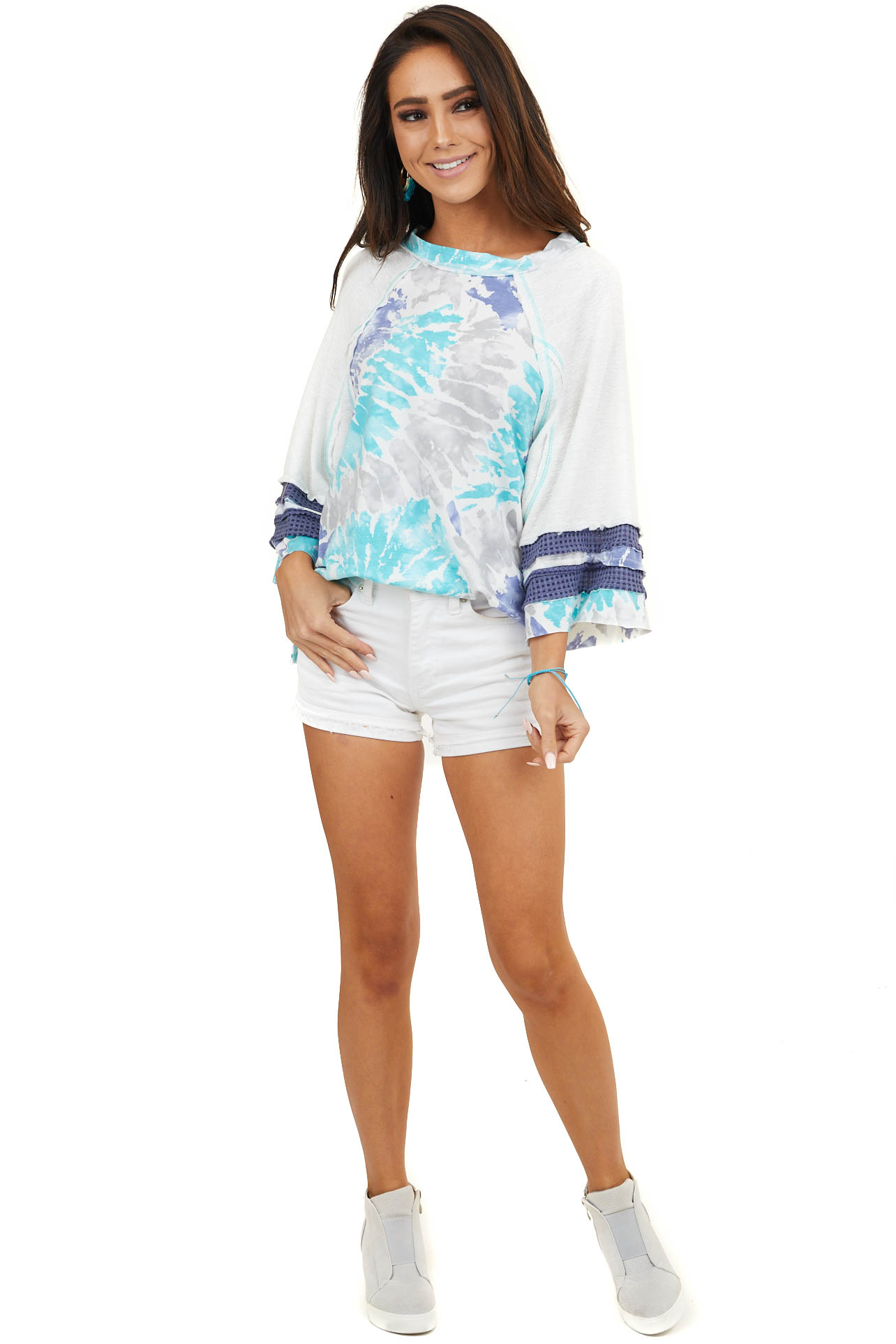 Multicolor Tie Dye Top with Multiprint 3/4 Length Sleeves
