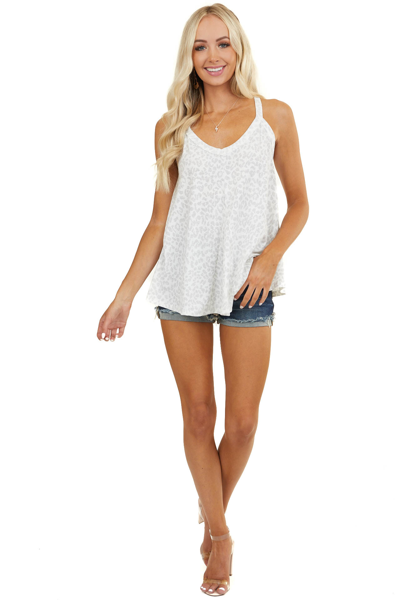 Ivory and Grey Leopard Print Racerback Knit Tank Top