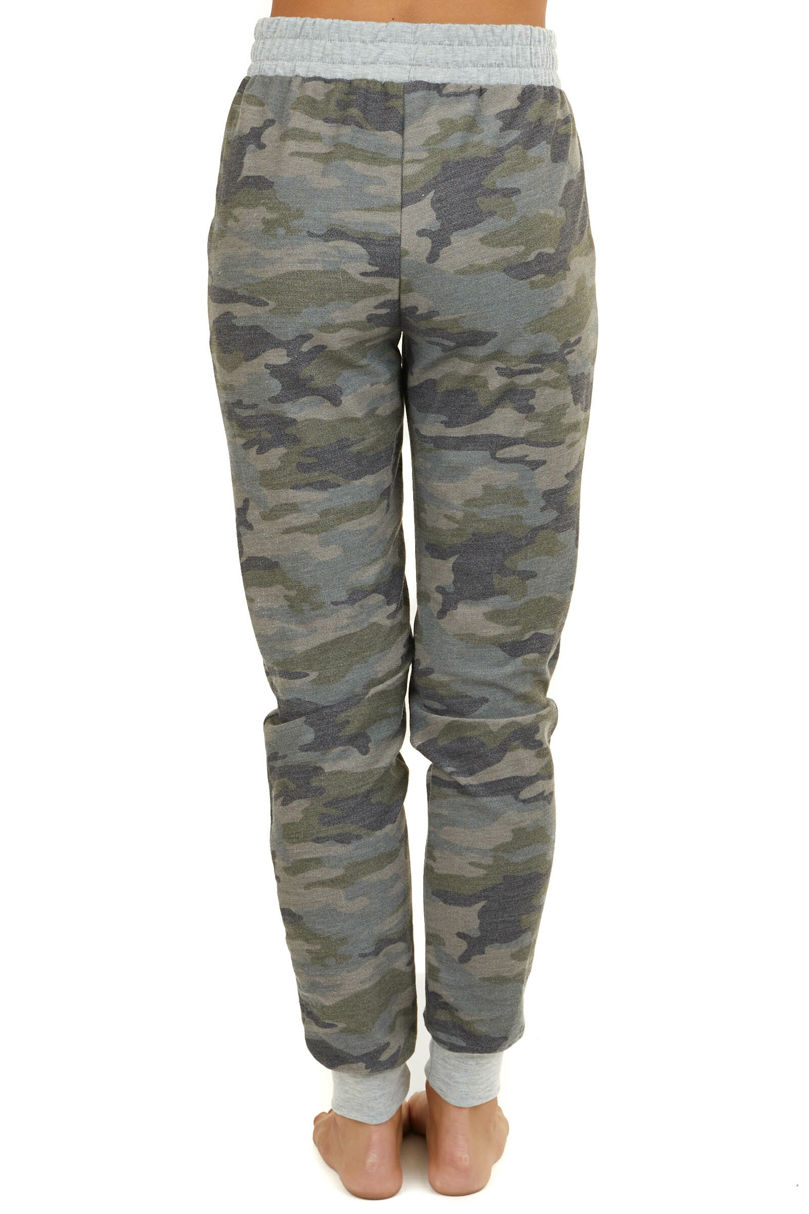Army Green Camo Print Jogger Sweatpants with Pockets and Tie