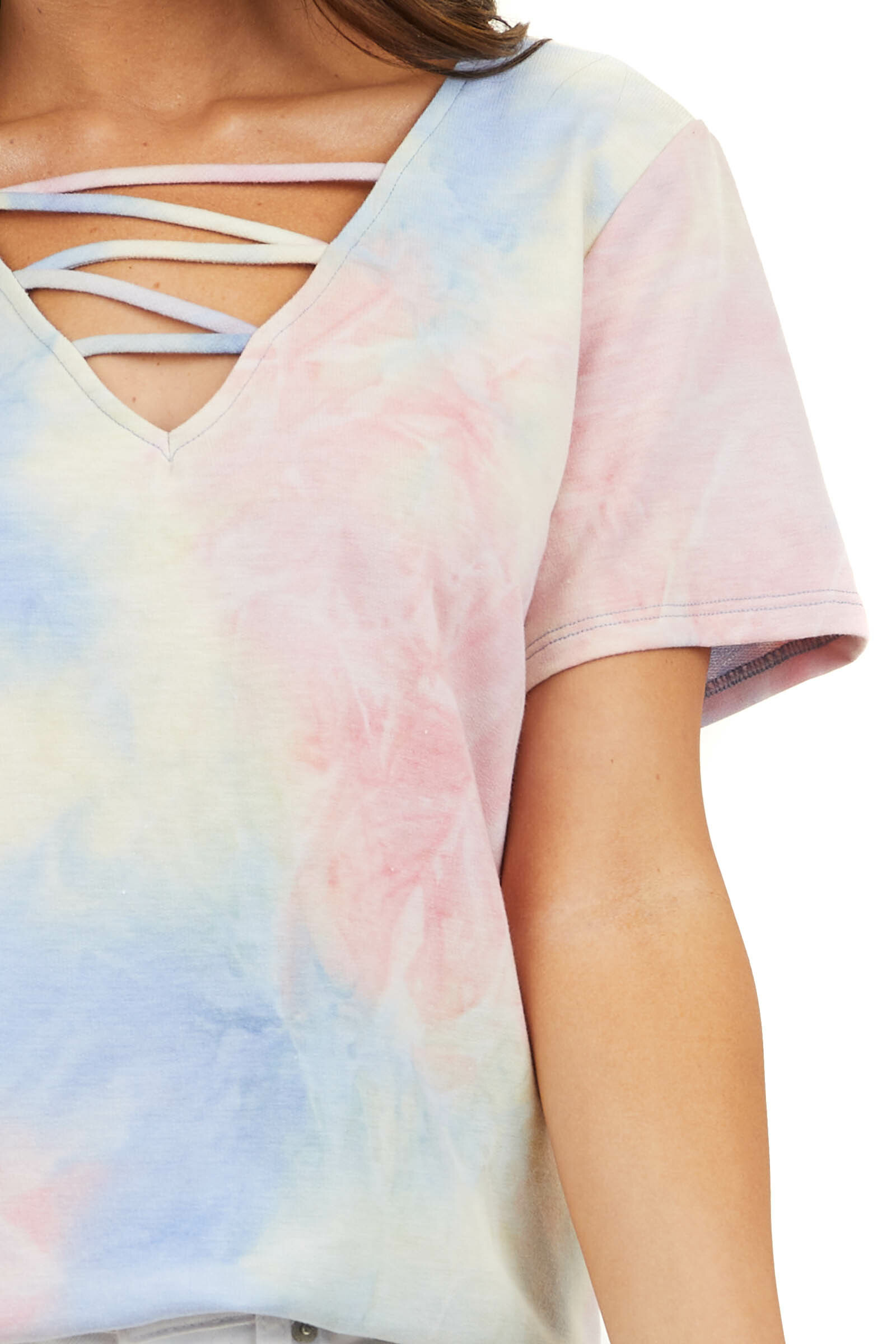Multicolor Tie Dye V Neck Top with Criss Cross Detail