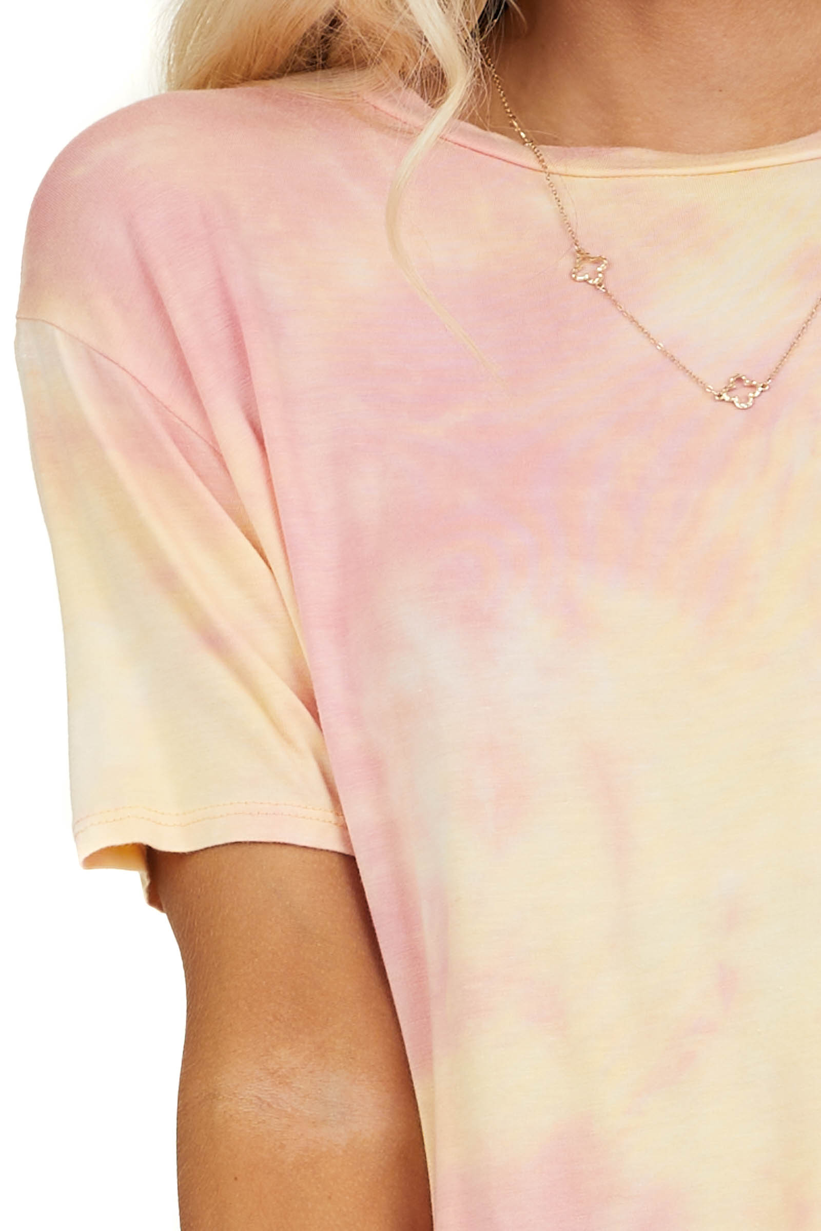 Coral and Peach Tie Dye Short Sleeve Super Soft Knit Top