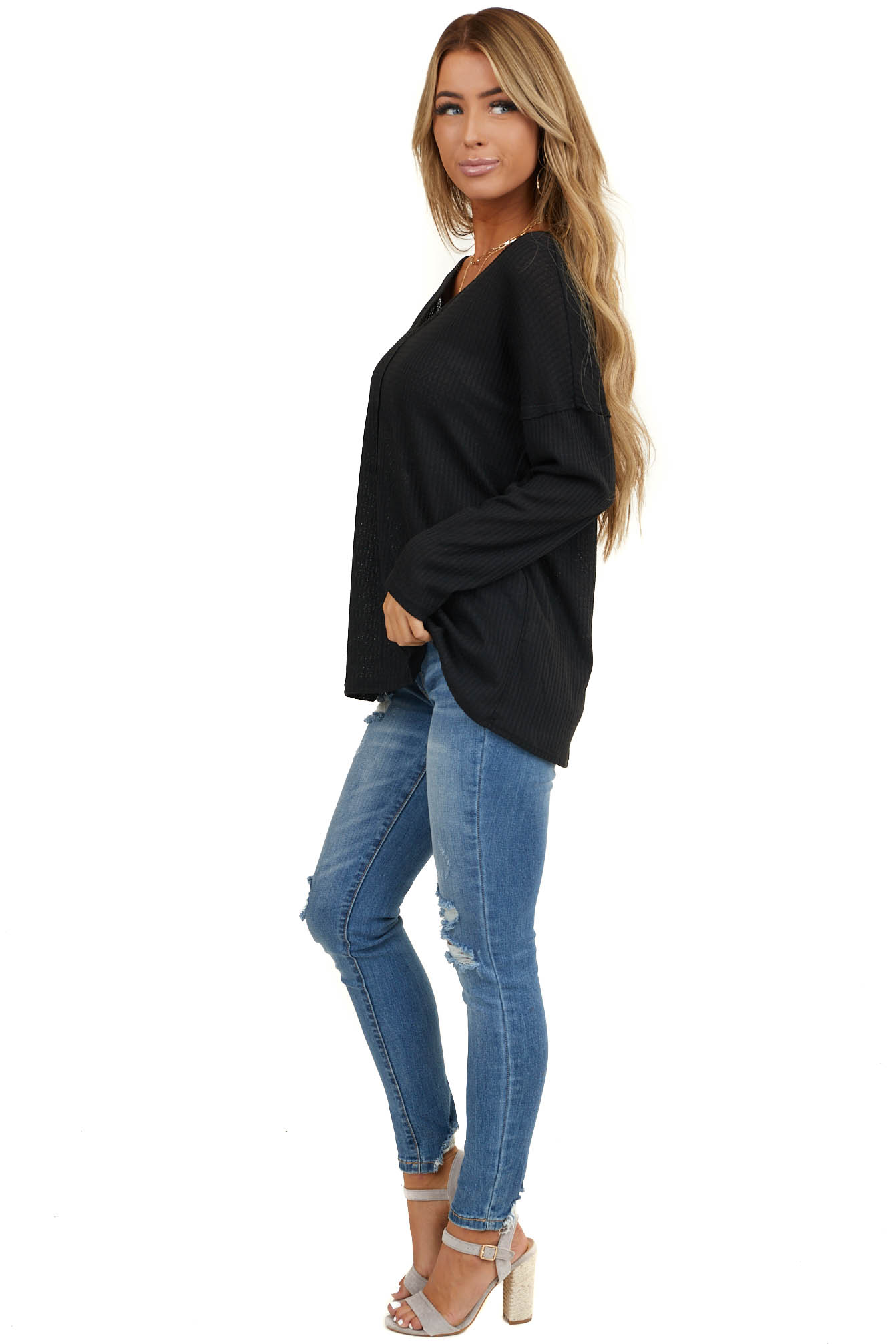 Black Long Sleeve Waffle Knit Top with V Neckline