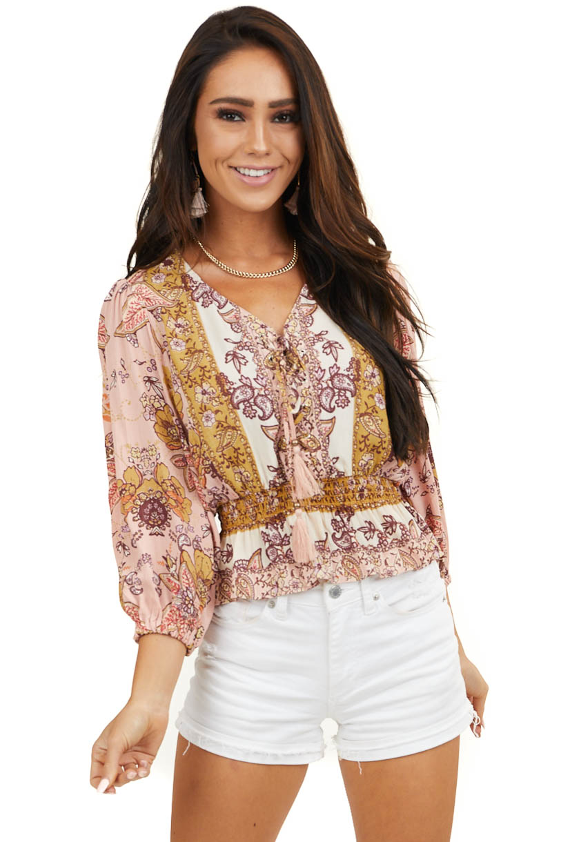 Pink Multicolor Floral Print Lace Up V Neck Woven Crop Top