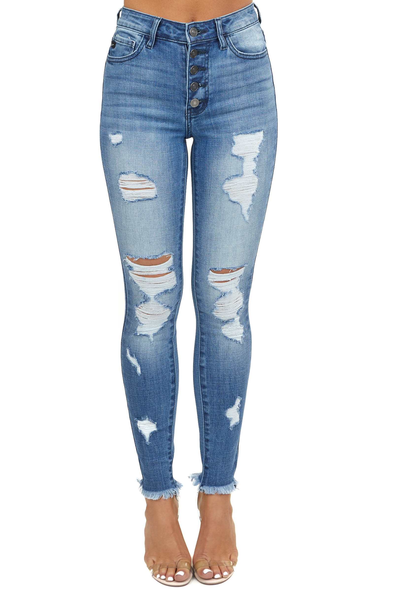 Medium Wash High Rise Distressed Skinny Jeans with Fray