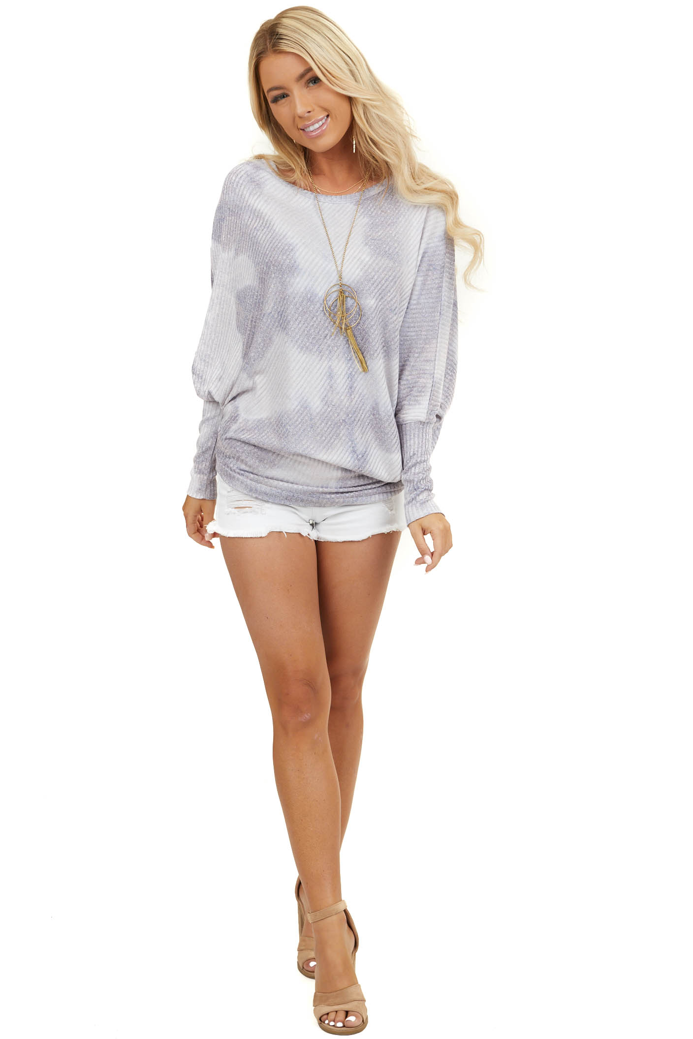 Dusty Lilac Tie Dye Long Sleeve Top with Asymmetrical Hem