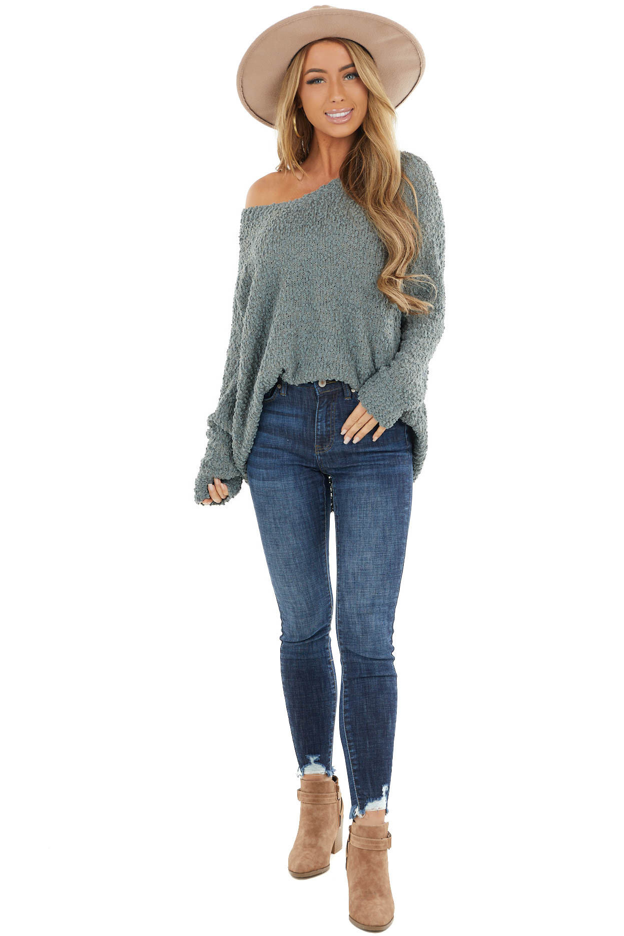 Dusty Pine V Neck Textured Sweater with Long Sleeves