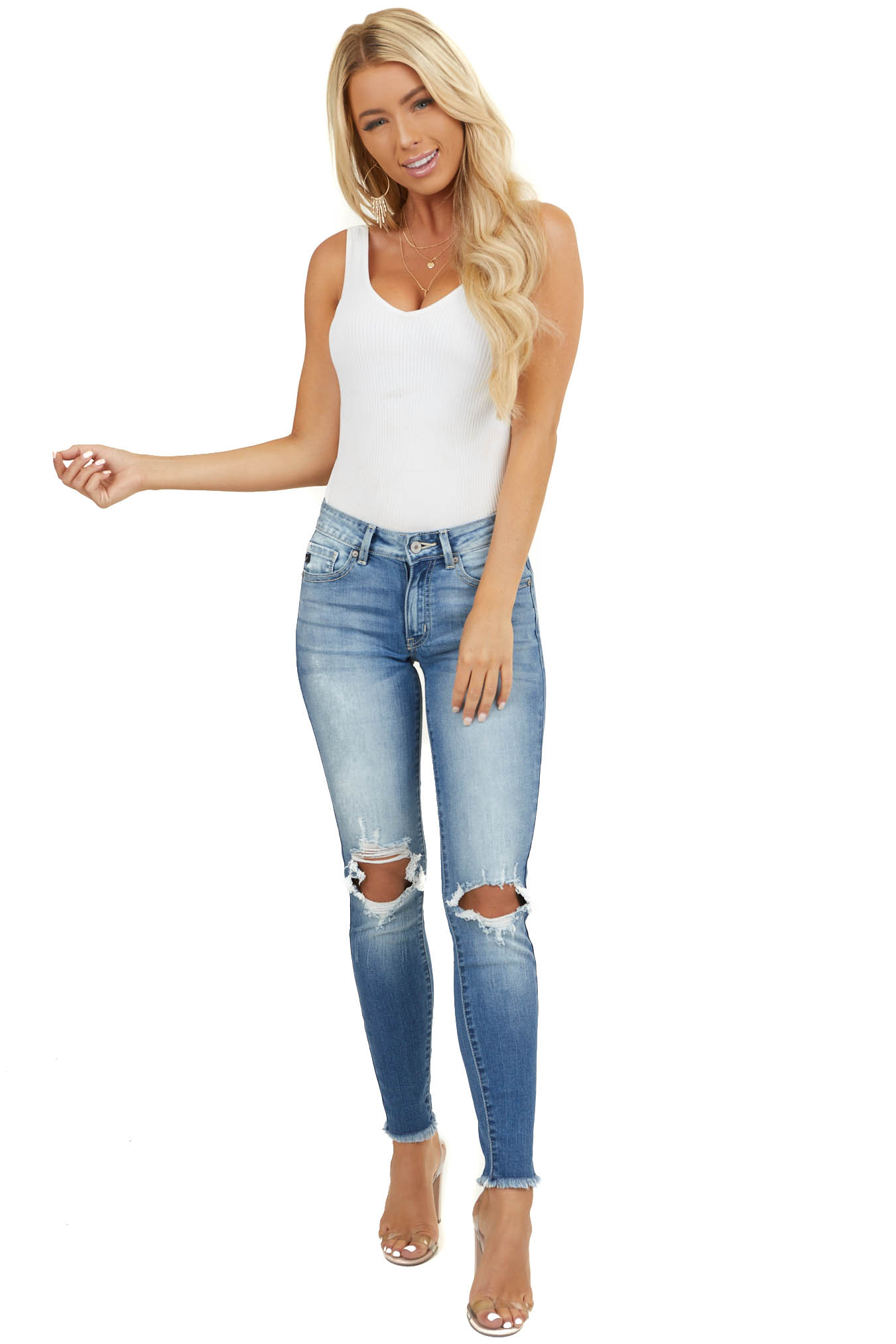 Medium Wash Denim Skinny Jeans with Shredded Knee Detail