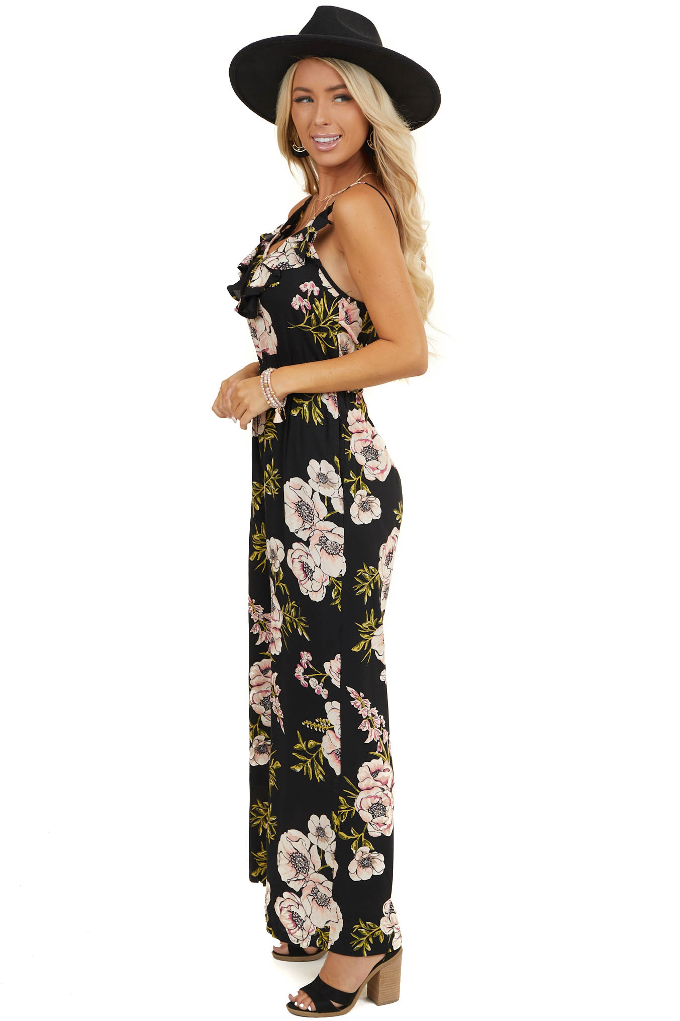 Black Floral Sleeveless Jumpsuit with Pockets and Ruffles