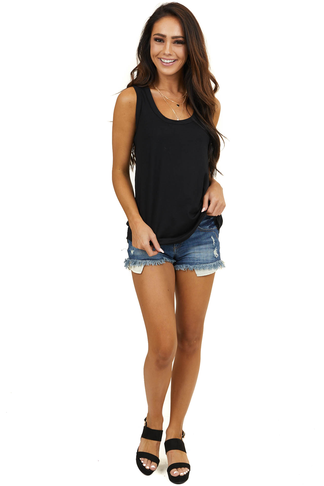 Black Sleeveless Knit Top with Rounded Neckline