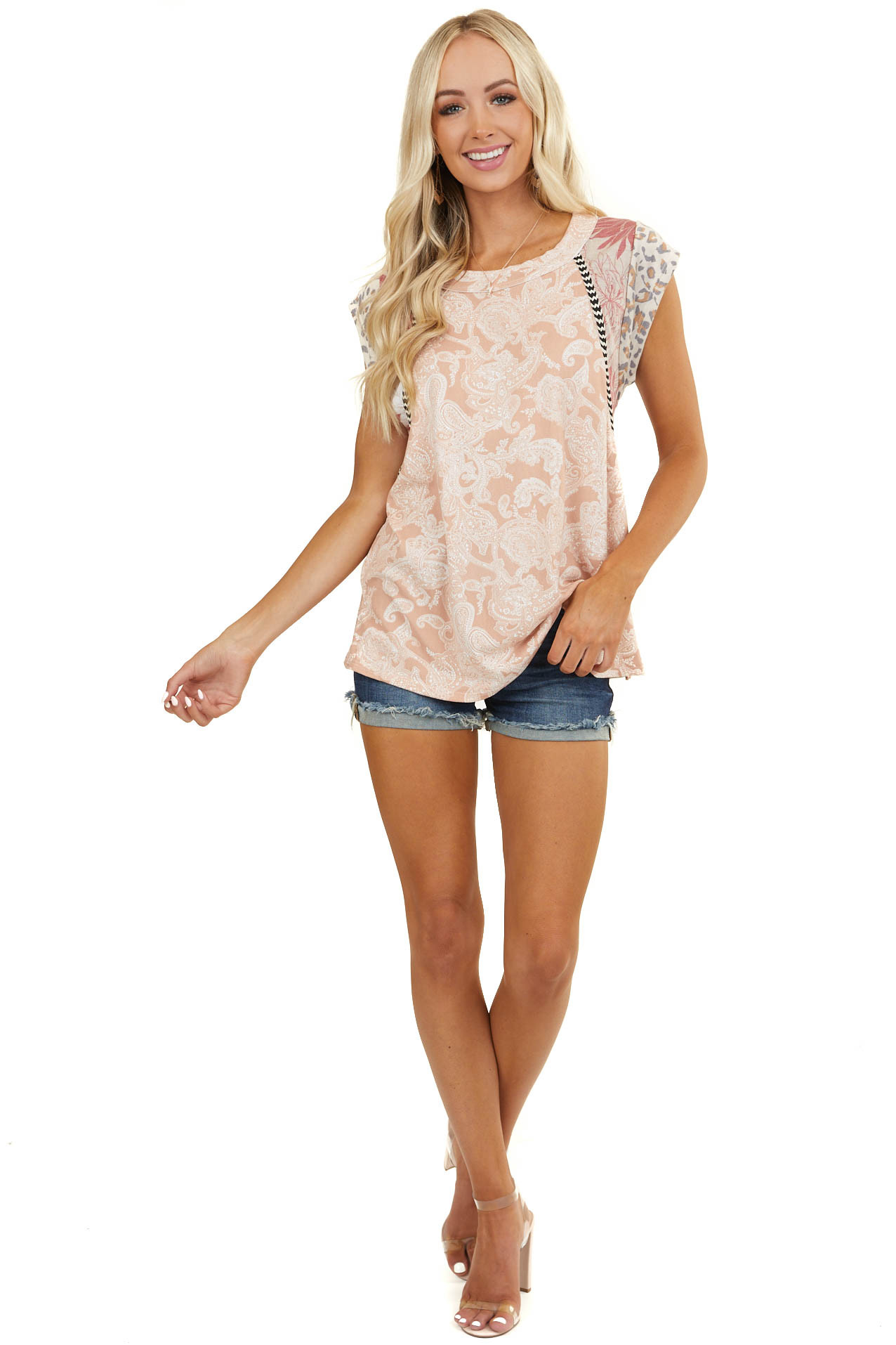 Peach Multiprint Knit Top with Contrast Short Sleeves