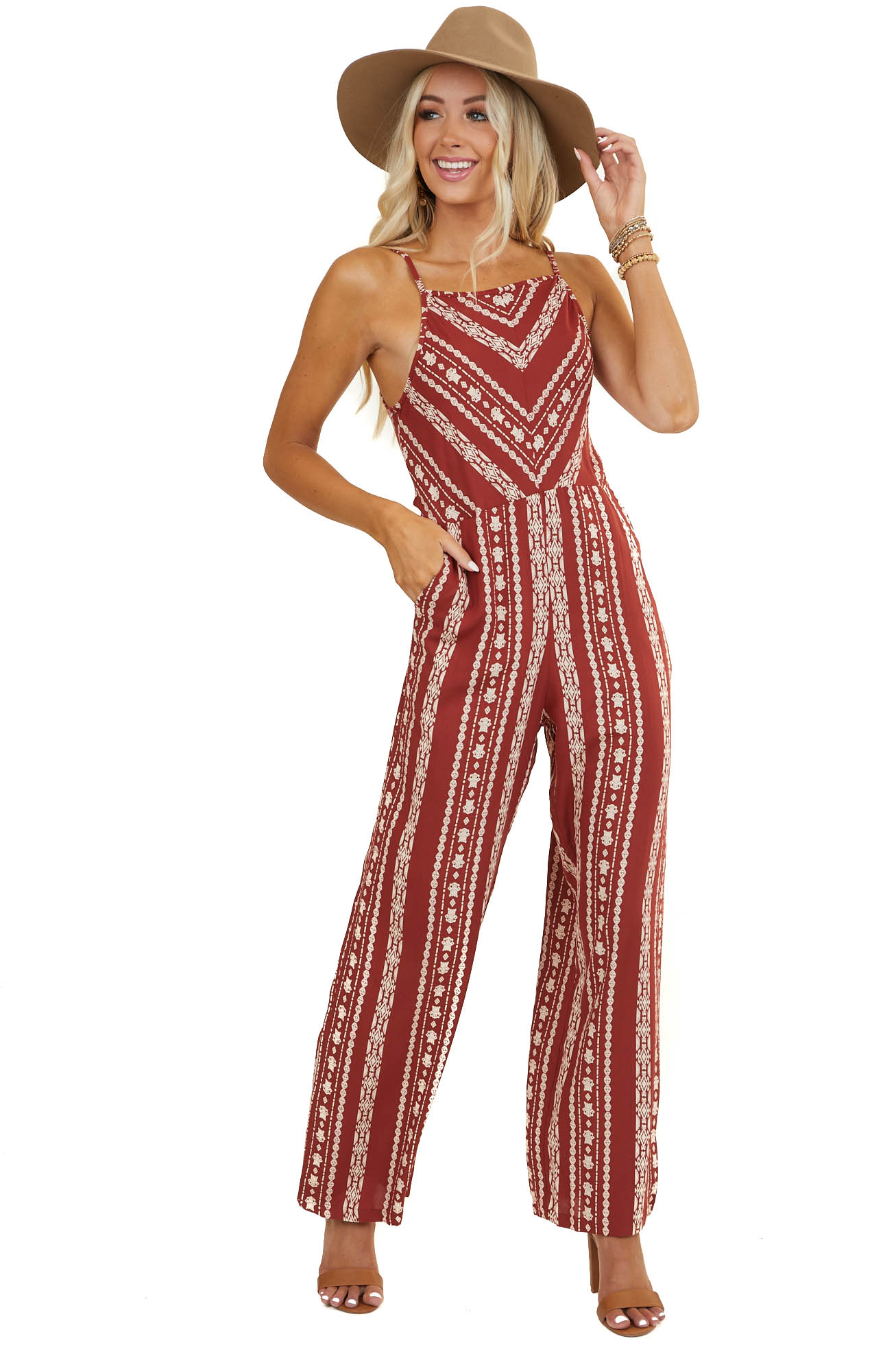 Rust Printed Sleeveless Wide Leg Jumpsuit with Pockets