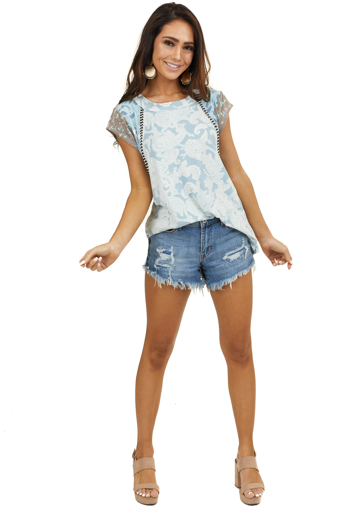 Powder Blue Multiprint Knit Top with Contrast Short Sleeves