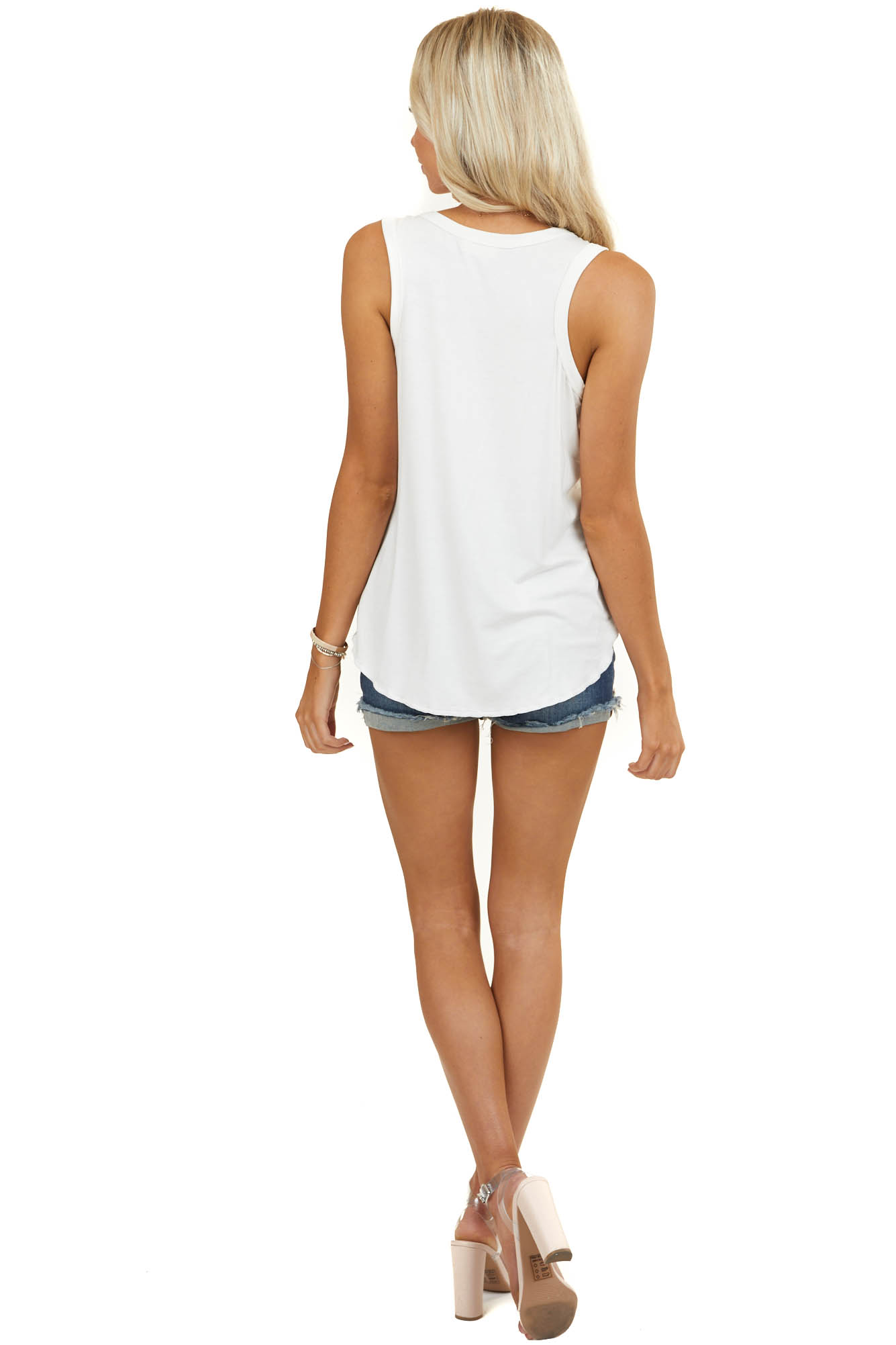 Ivory Sleeveless Knit Top with Rounded Neckline