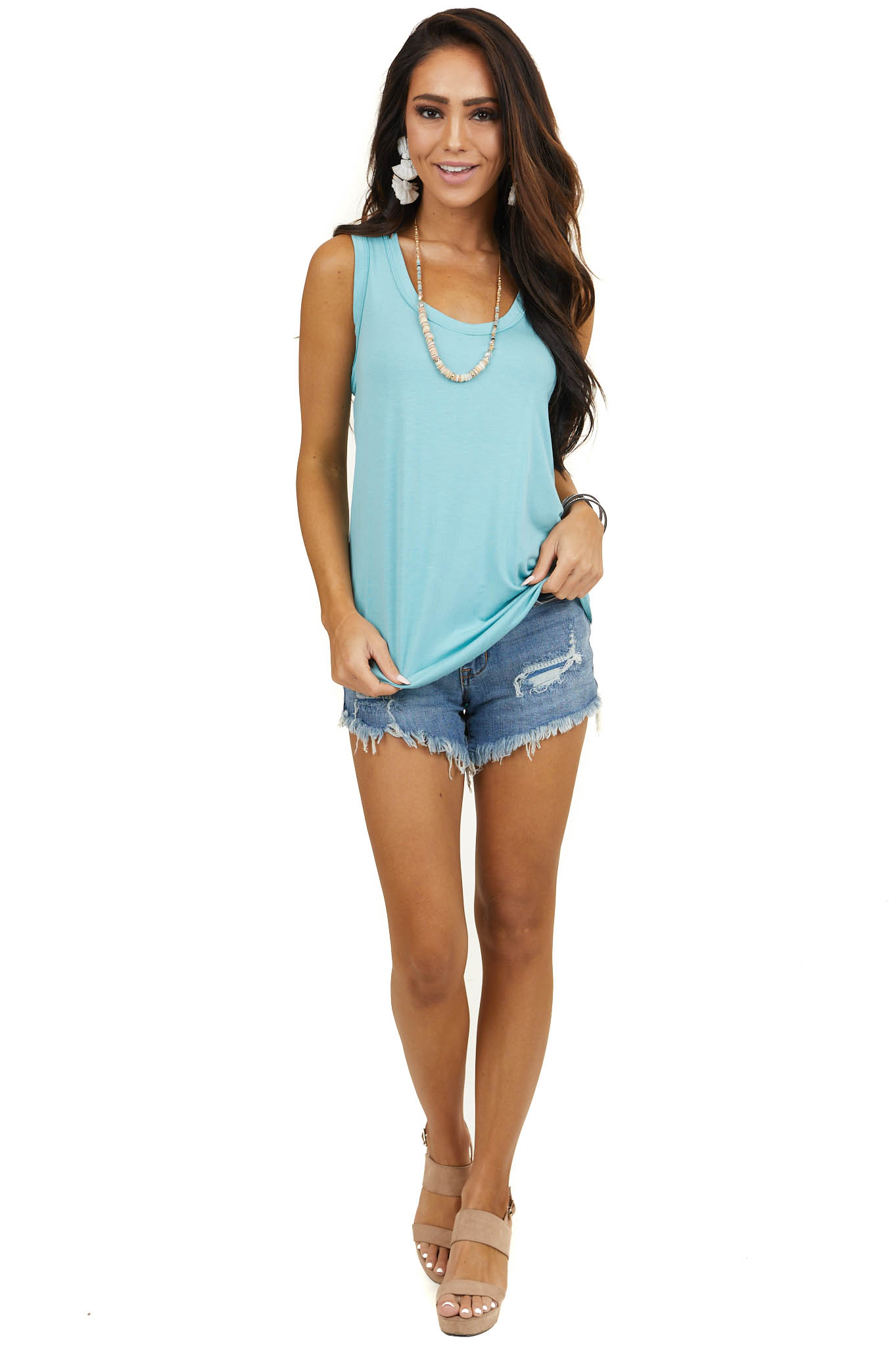 Light Teal Sleeveless Knit Top with Rounded Neckline