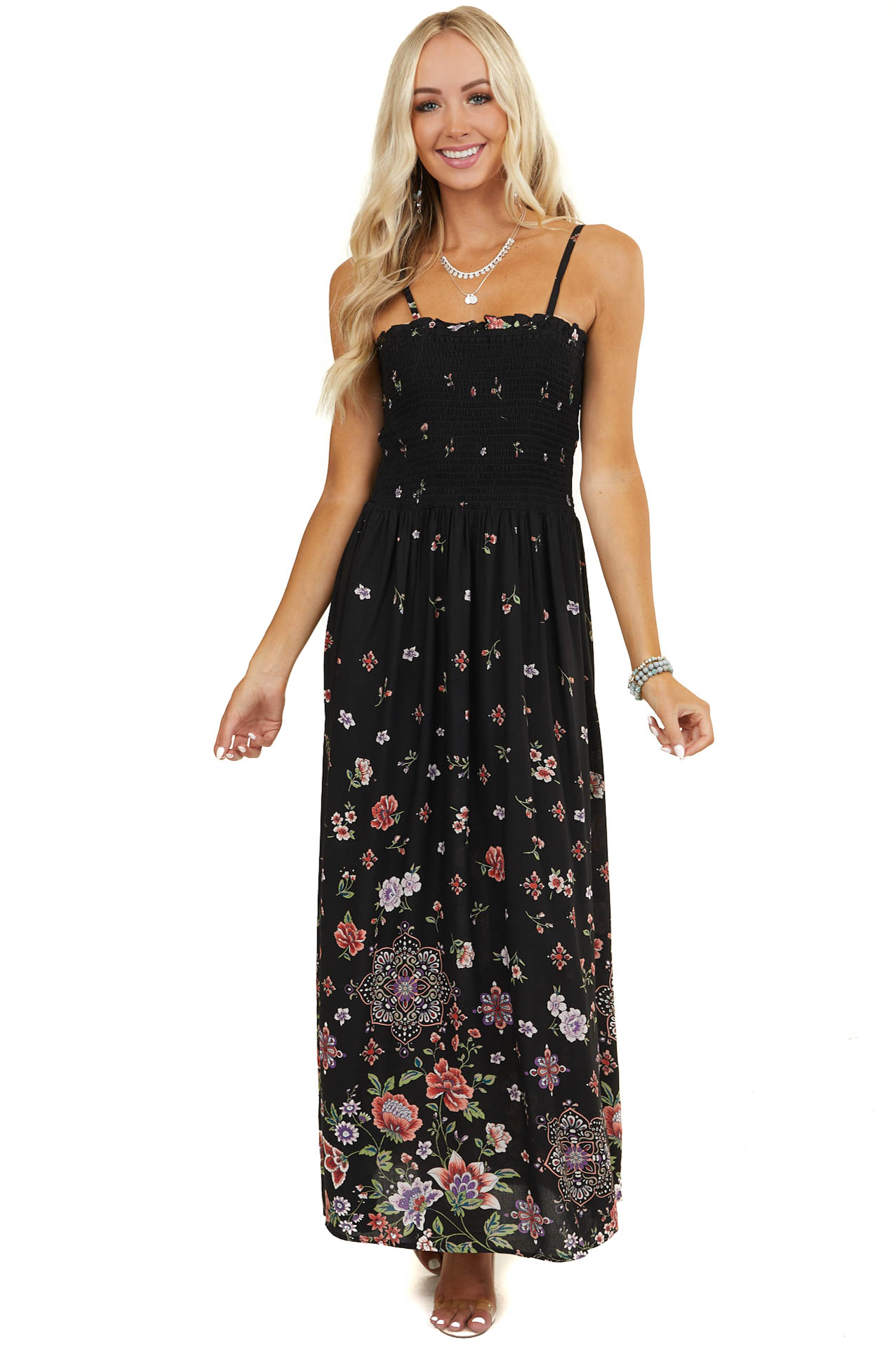 Black Floral Print Sleeveless Maxi Dress with Smocked Bust