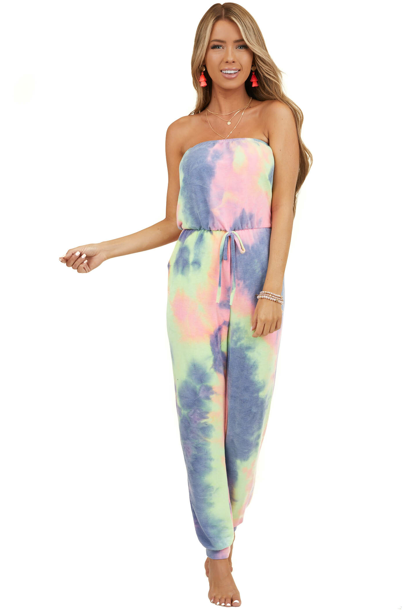 Multicolor Tie Dye Strapless Jumpsuit with Side Pockets
