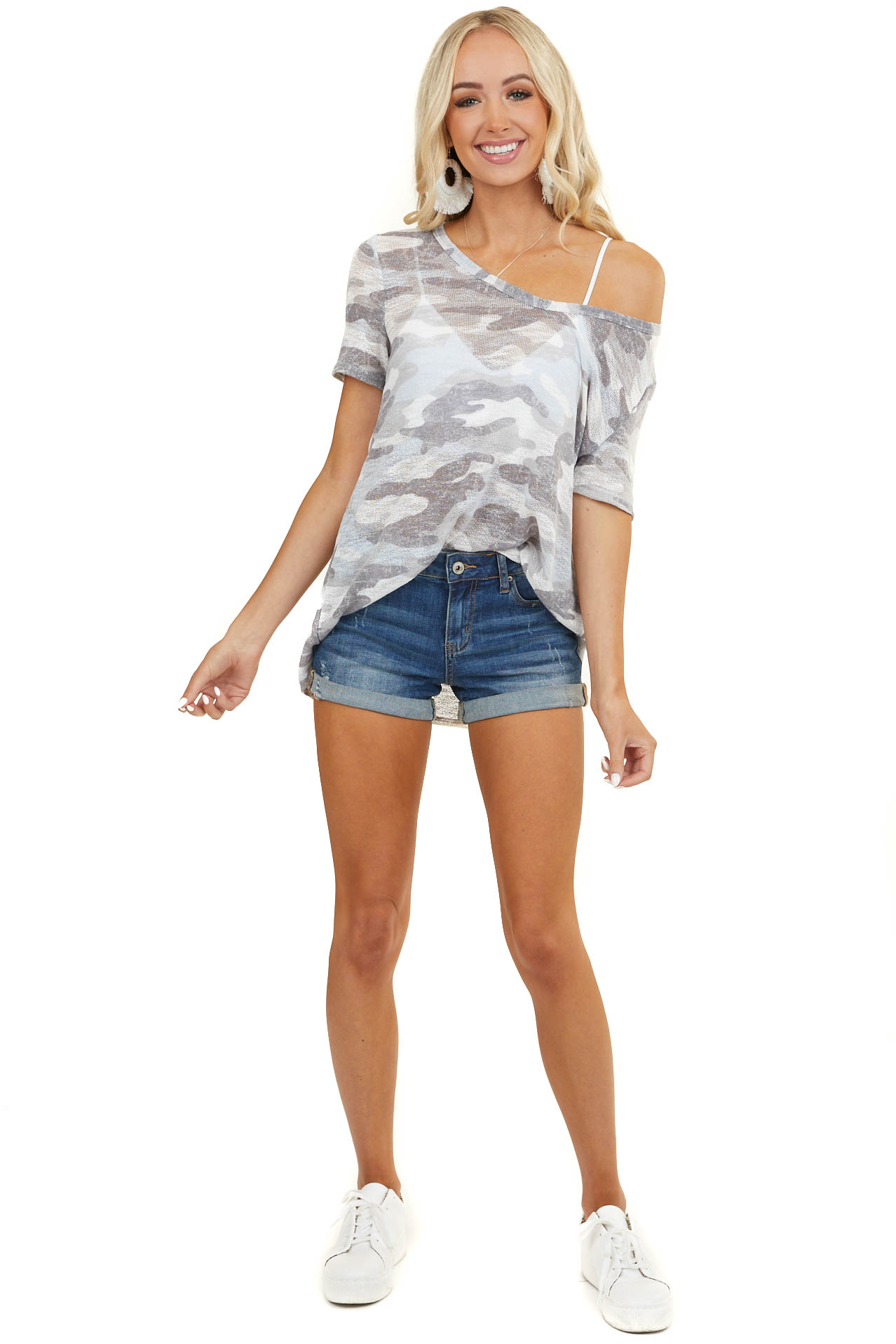Blue and Grey Camo Loose Knit Top with Short Sleeves