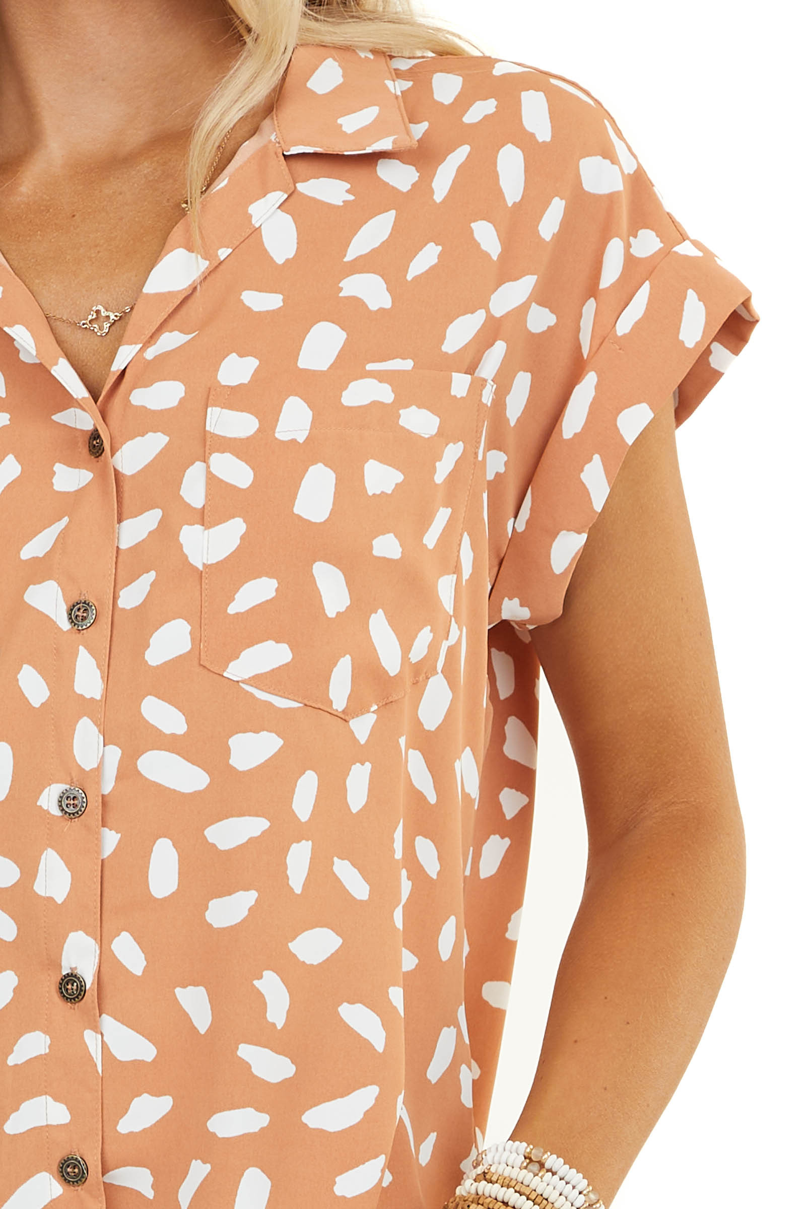 Dusty Salmon and White Patterned Woven Button Up Top