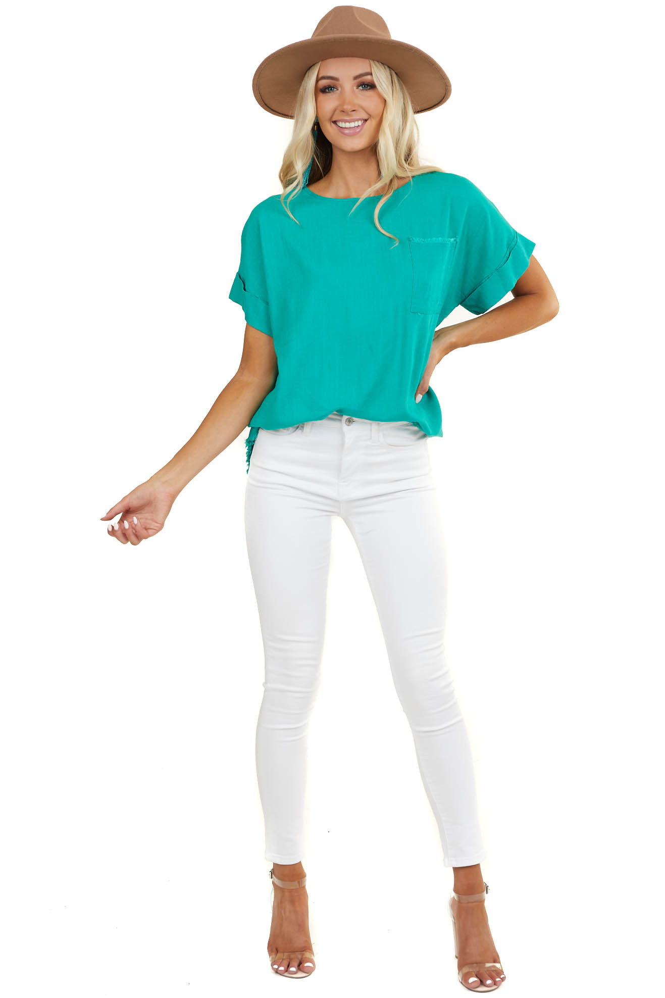 Pine Green Short Sleeve Woven Top with Front Pocket Detail