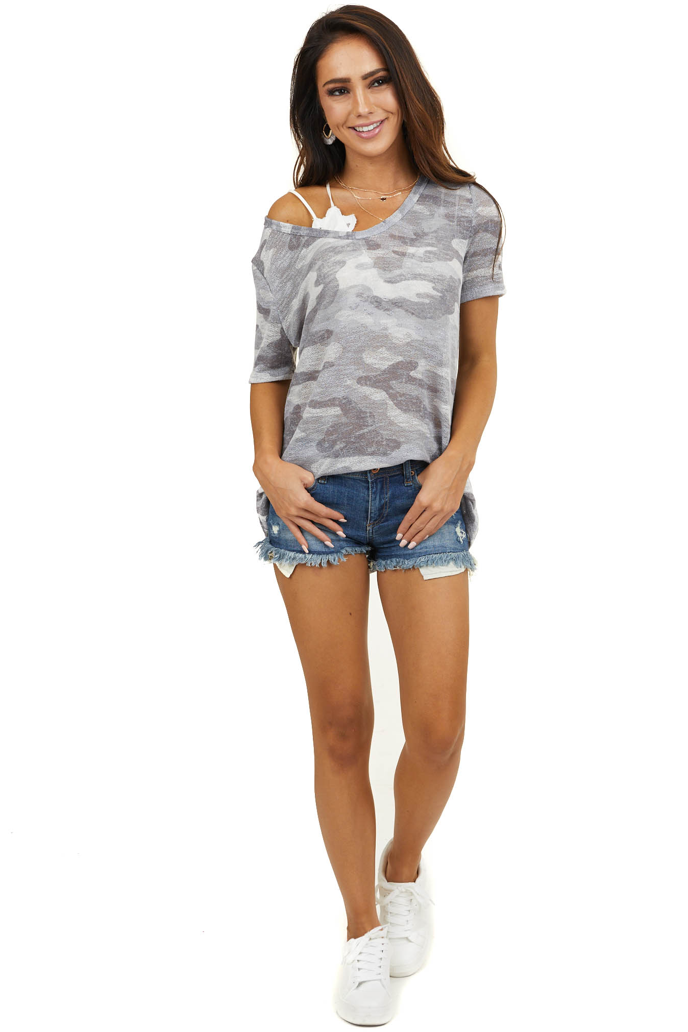 Stormy and Slate Grey Camo Loose Knit Top with Short Sleeves
