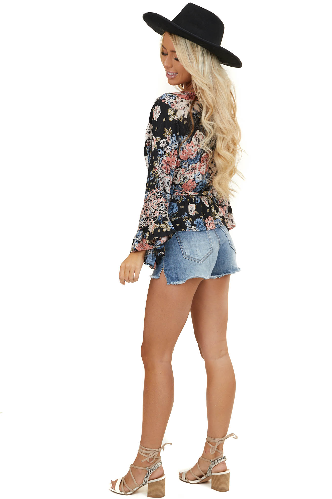 Black Floral Surplice Crop Top with 3/4 Flared Sleeves