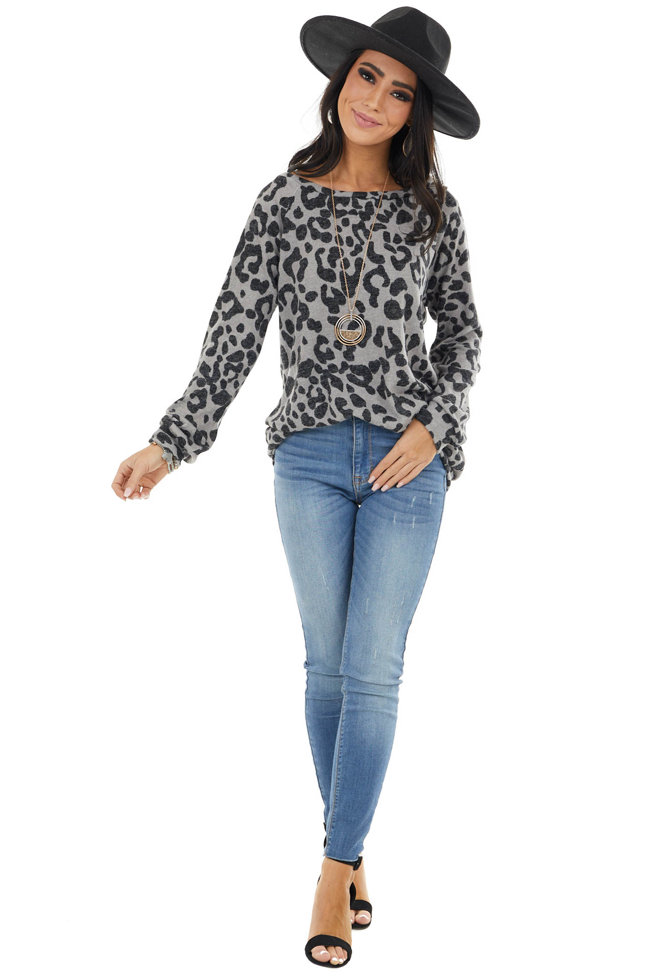 Grey and Black Leopard Print Long Sleeve Pullover Knit Top