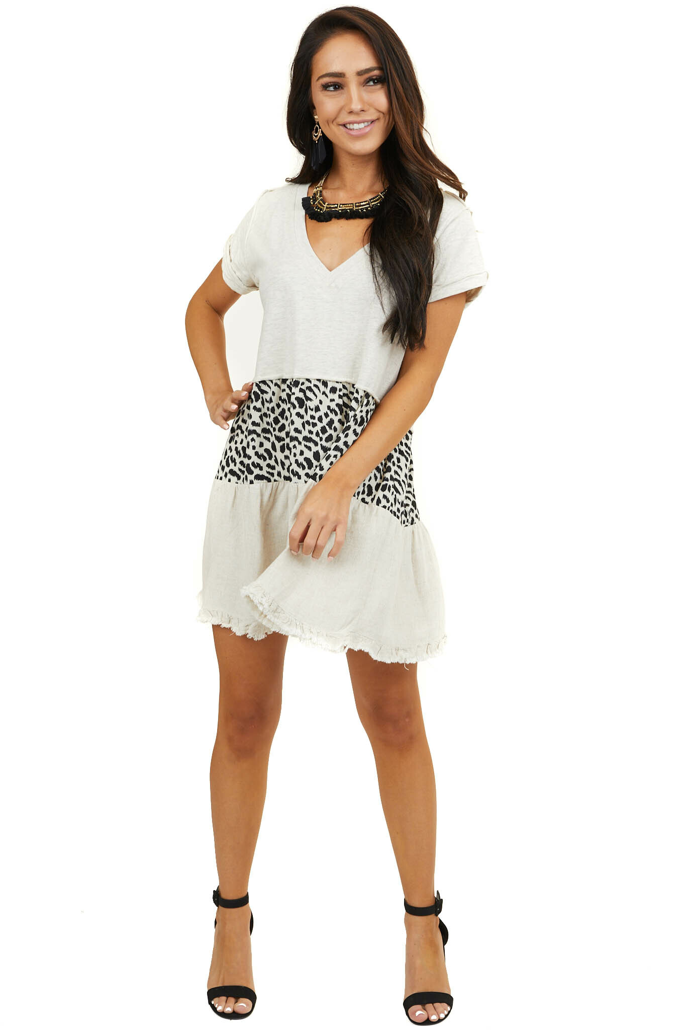 Oatmeal Colorblock V Neck Dress with Short Sleeves
