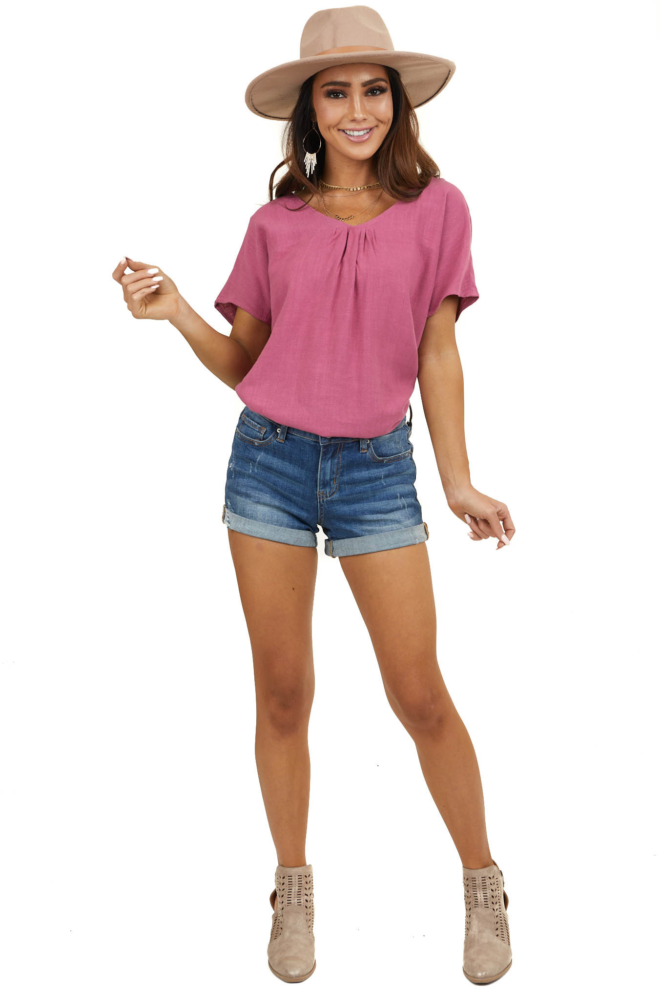 Mulberry Short Sleeve Woven Top with Keyhole Back