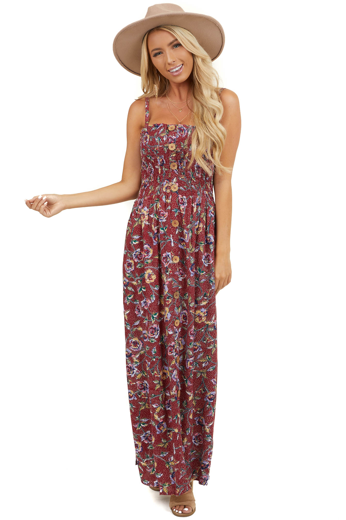 Burgundy Floral Sleeveless Maxi Dress with Smocked Bust