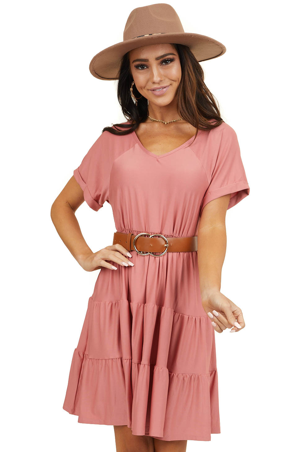 Dusty Blush Tiered V Neck Dress with Short Sleeves