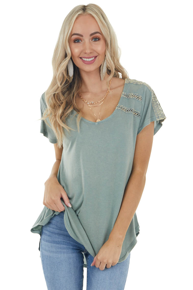 Sage Short Sleeve High Low Top With Crochet Trim Details