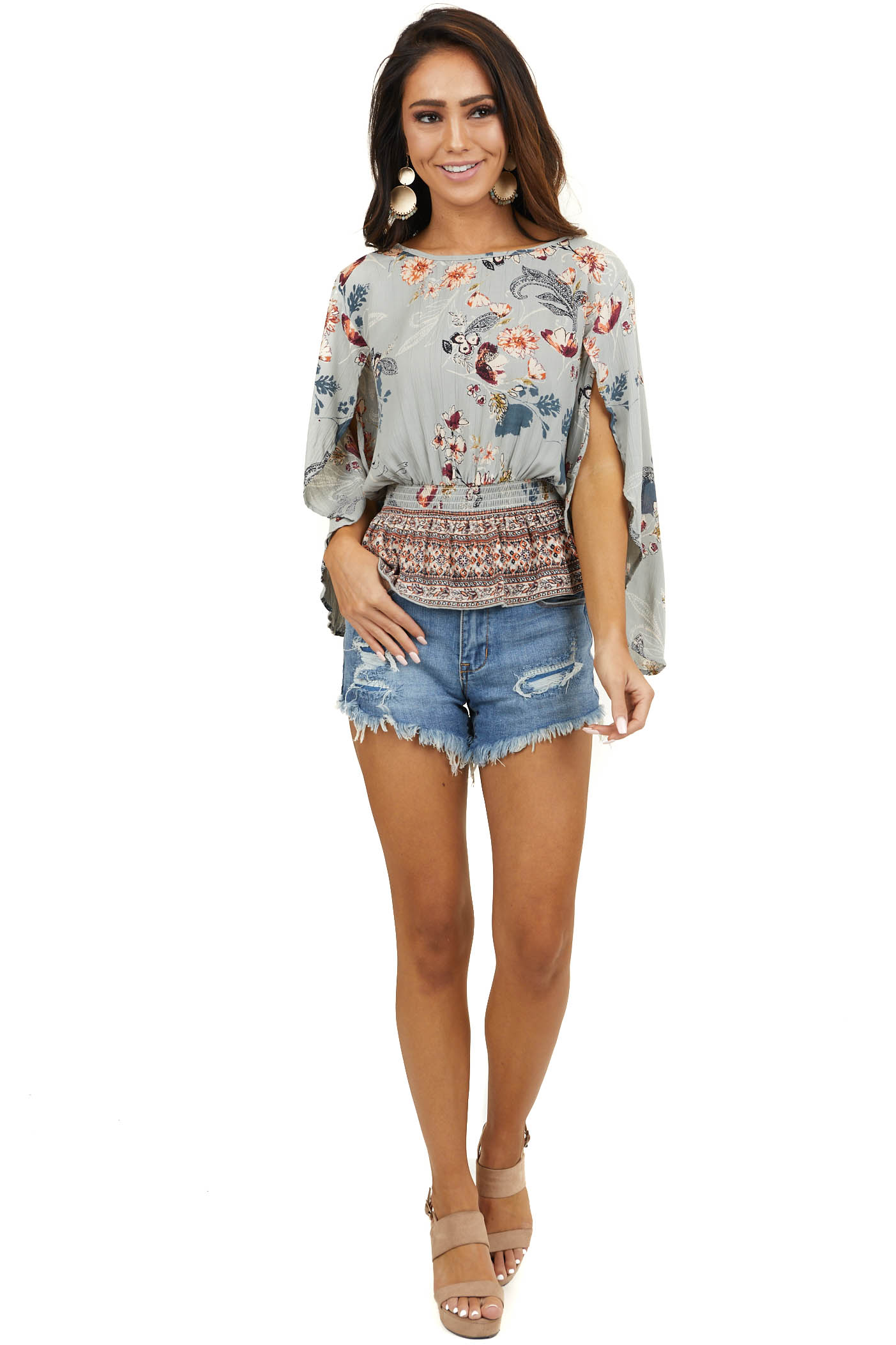 Slate Grey Floral Open Flare Sleeve Crop Top with Ruffle Hem