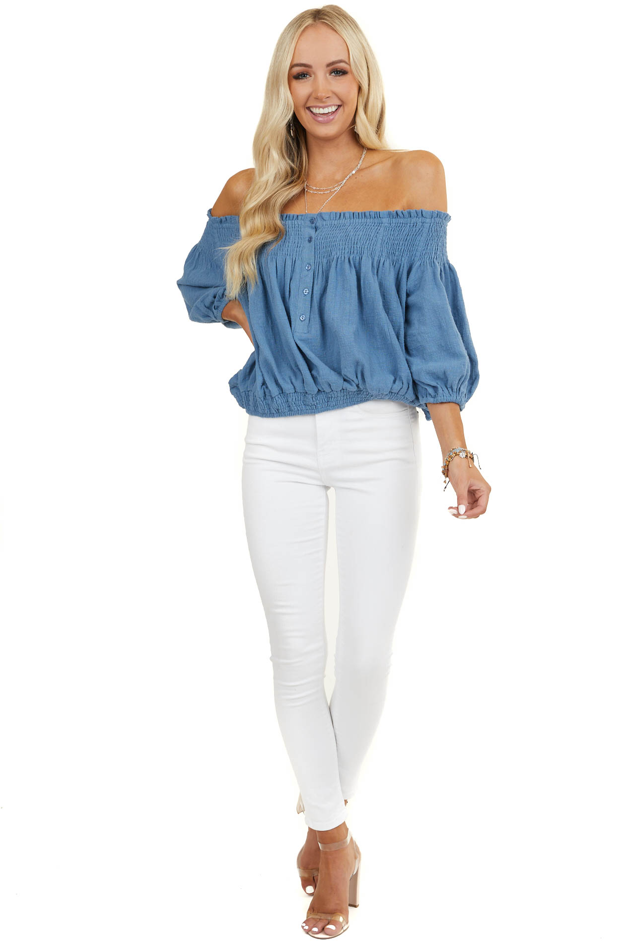 Blue Smocked Off The Shoulder Blouse with Front Buttons