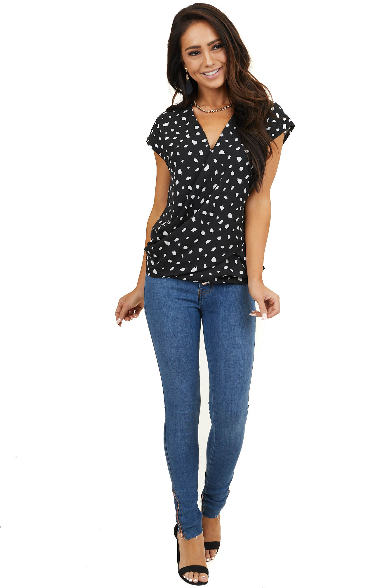 Black and White Patterned Surplice Top with Short Sleeves