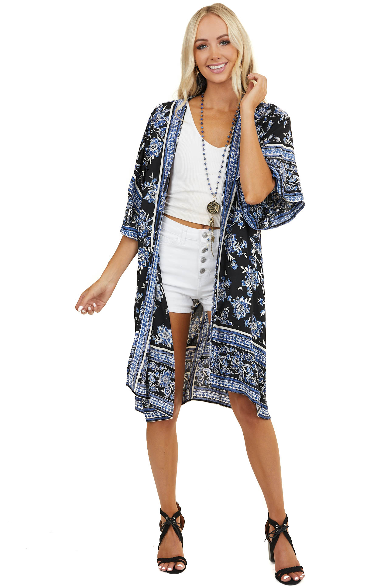 Blue and Black Printed Half Sleeve Kimono with Open Front