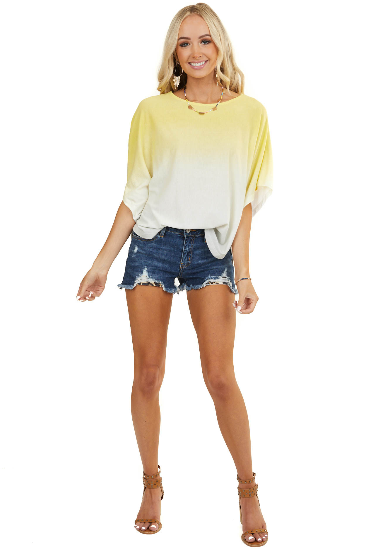 Yellow and Dove Grey Ombre Soft Knit Top with Dolman Sleeves