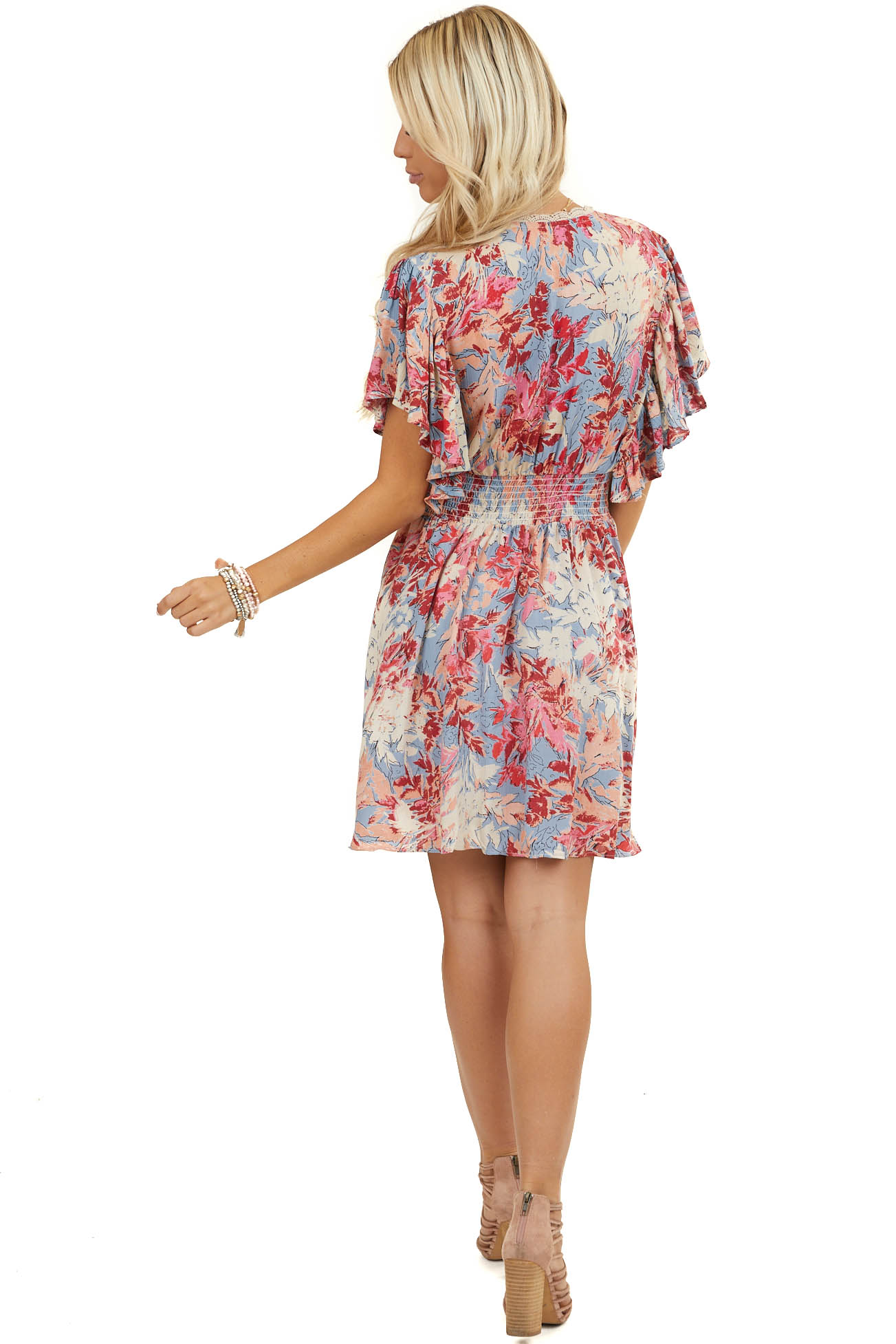 Periwinkle Floral Surplice Short Dress with Ruffle Details