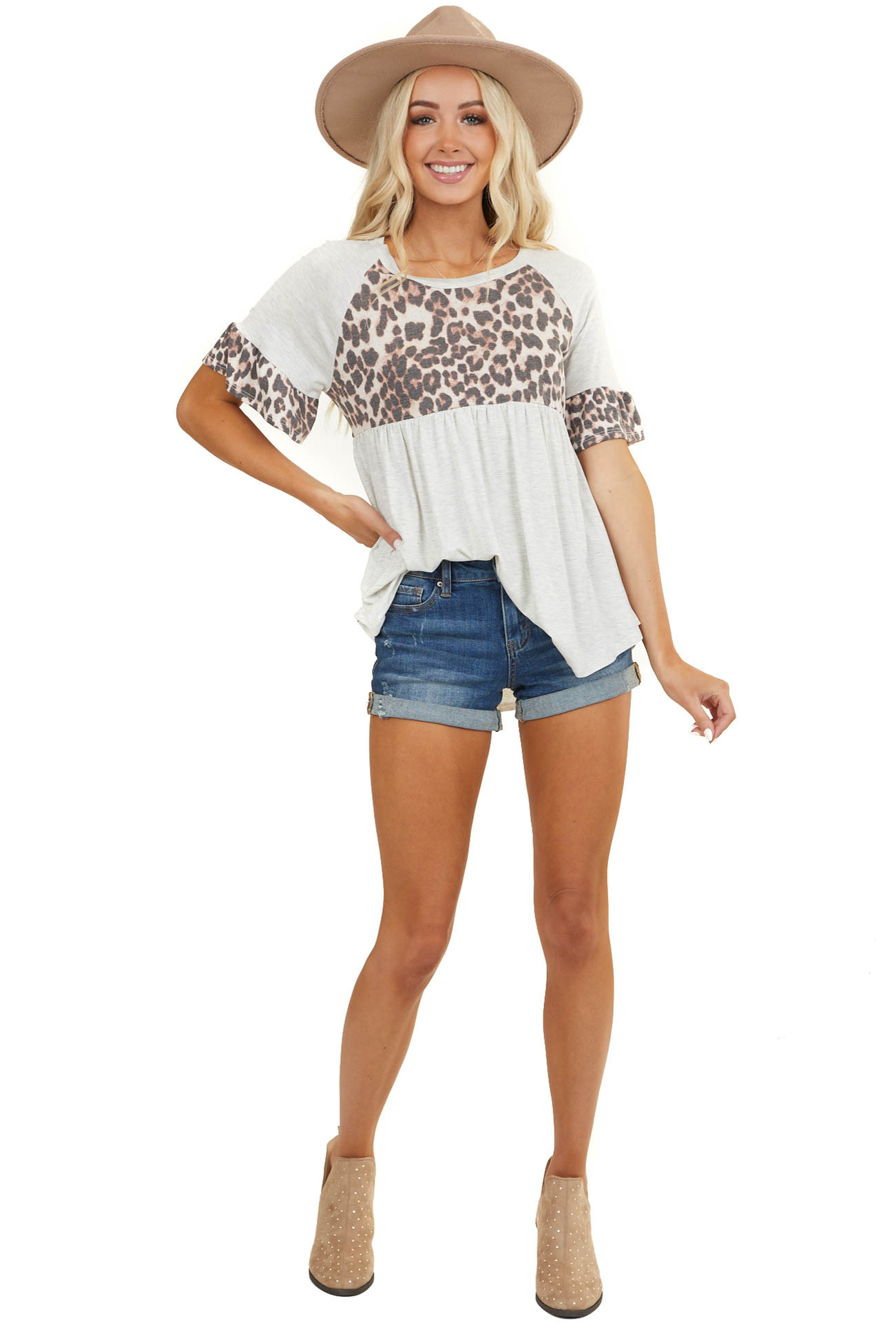 Ivory Babydoll Short Sleeve Top with Leopard Print Contrast