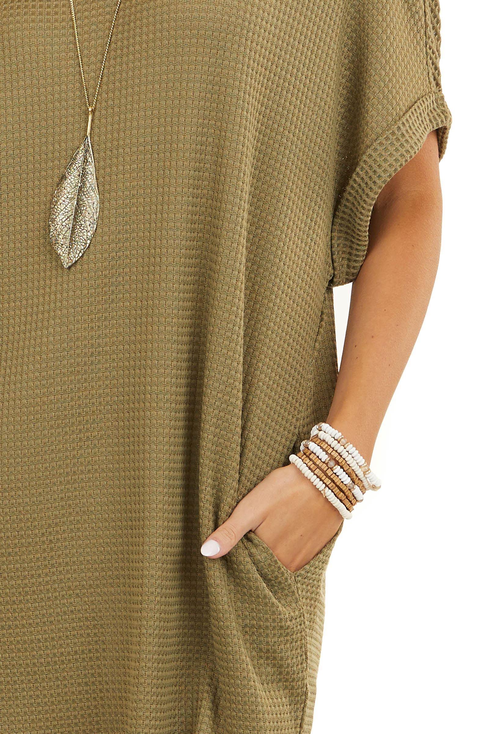 Olive Green Short Sleeve Waffle Knit Dress with Pockets