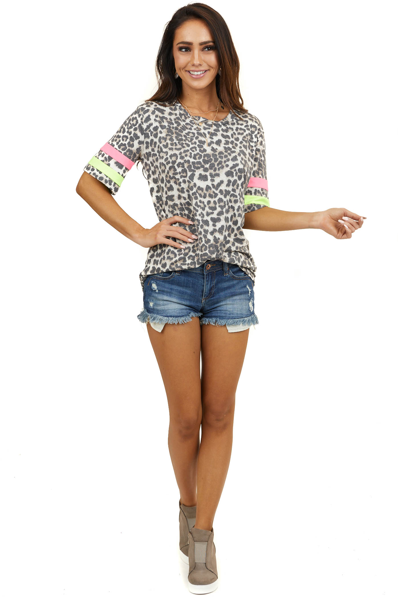 Ivory Leopard Print Short Sleeve Knit Top with Neon Contrast
