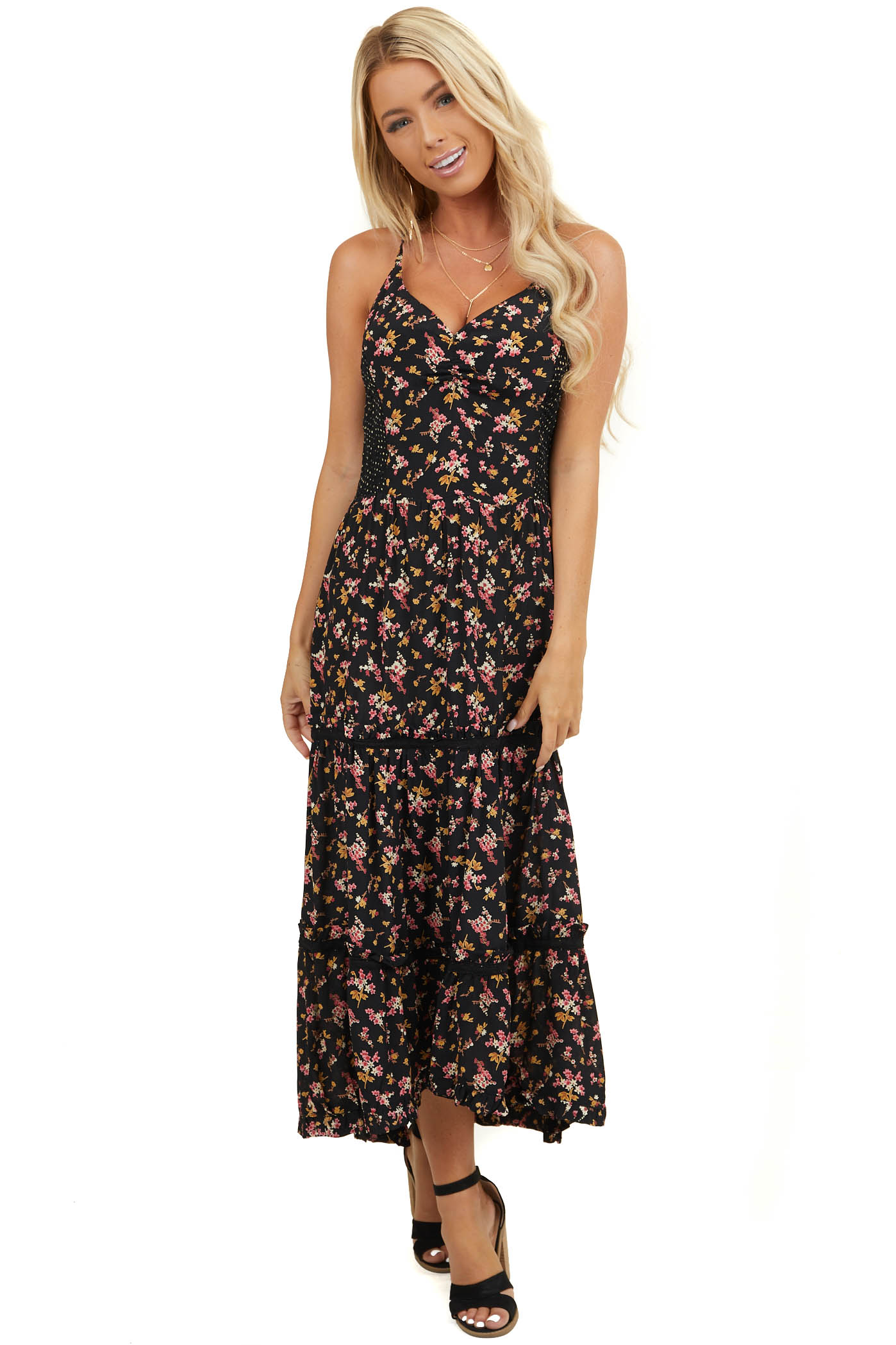 Black Floral Print Sleeveless Maxi Dress with Smocked Back