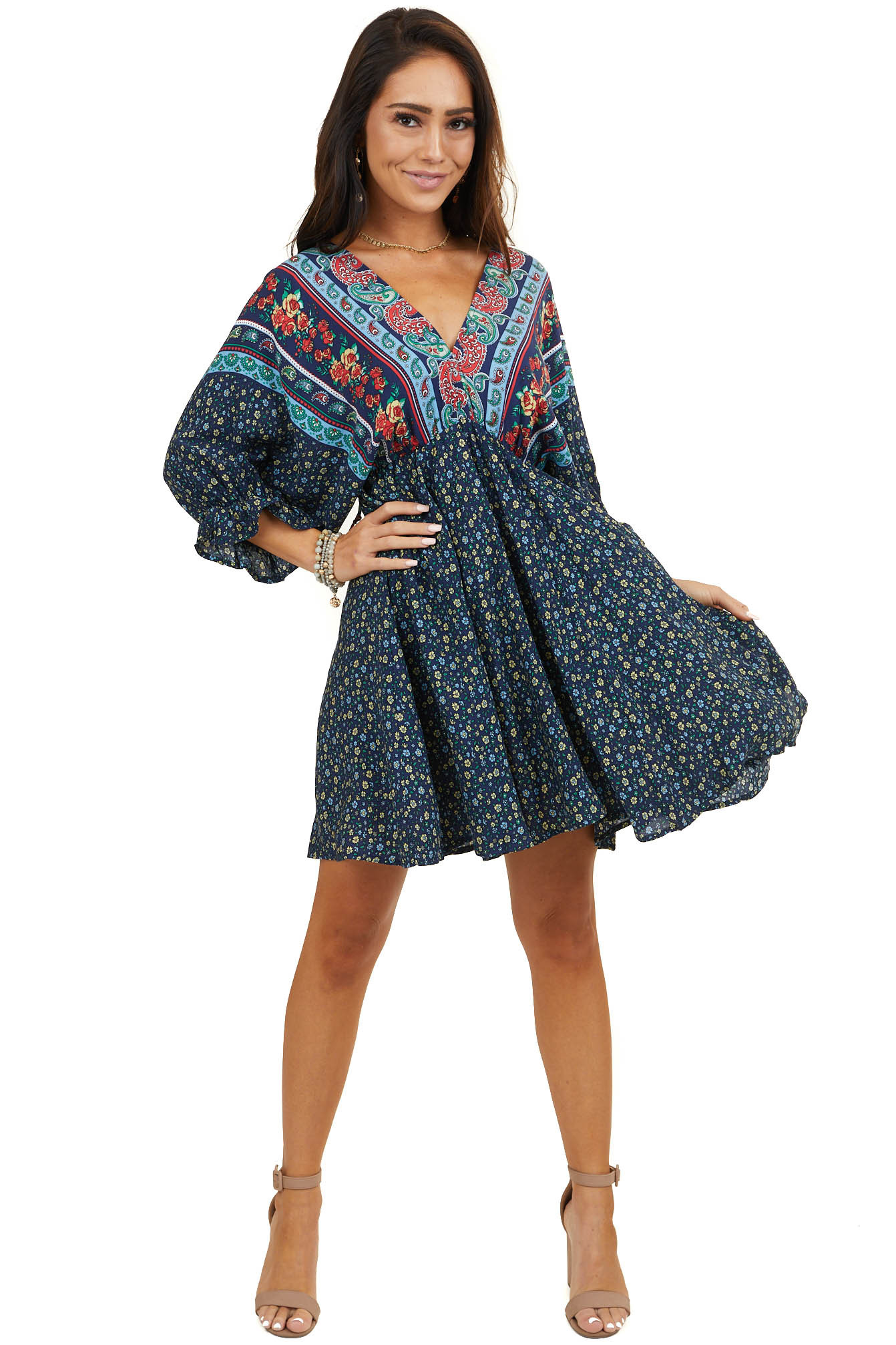 Navy Multiprint Short Sleeve Dress with Elastic Waistline