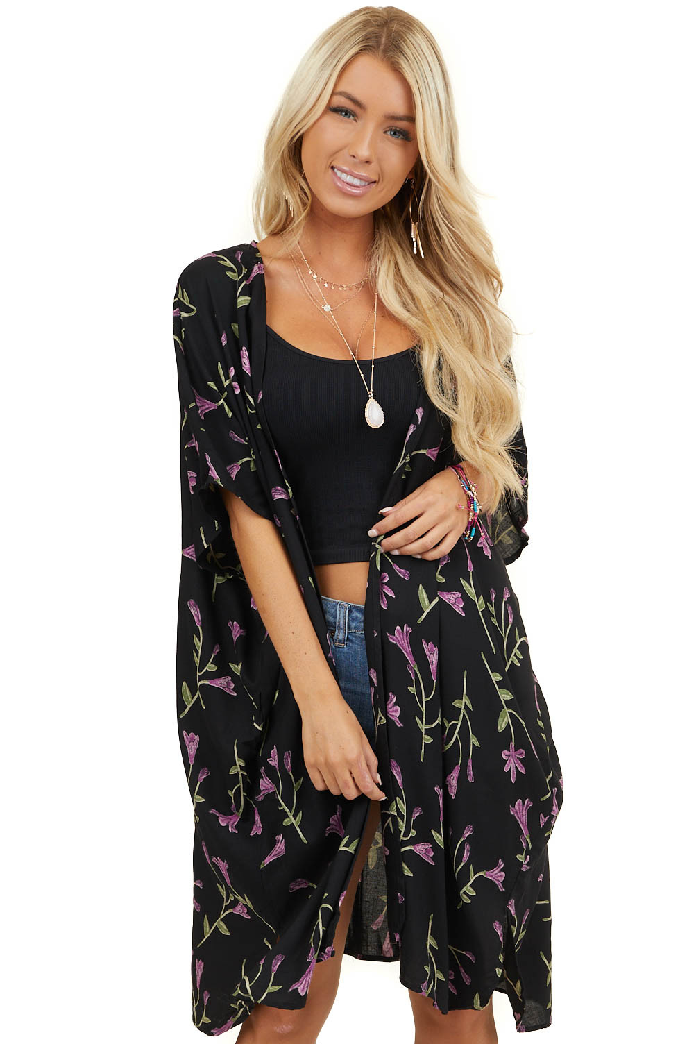 Black Floral Print Short Sleeve Open Kimono with Side Slits