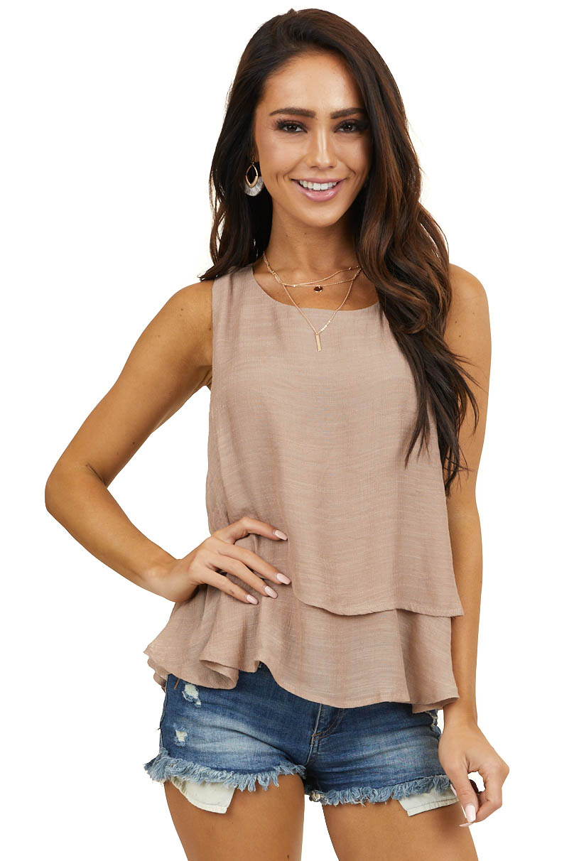 Latte Round Neck Woven Tank Top with Tier Detail