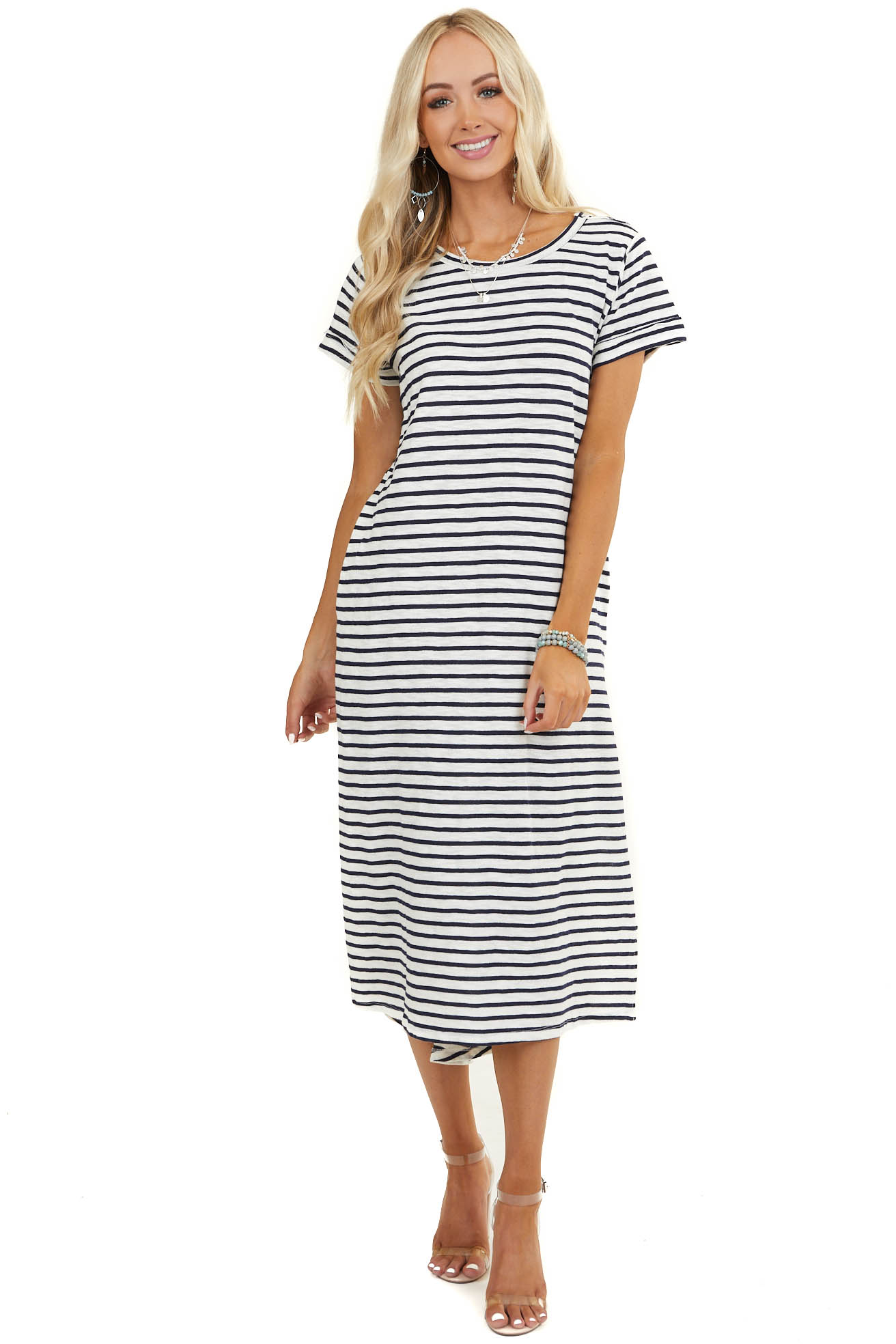 Off White and Navy Striped Dress with Side Pocket Details