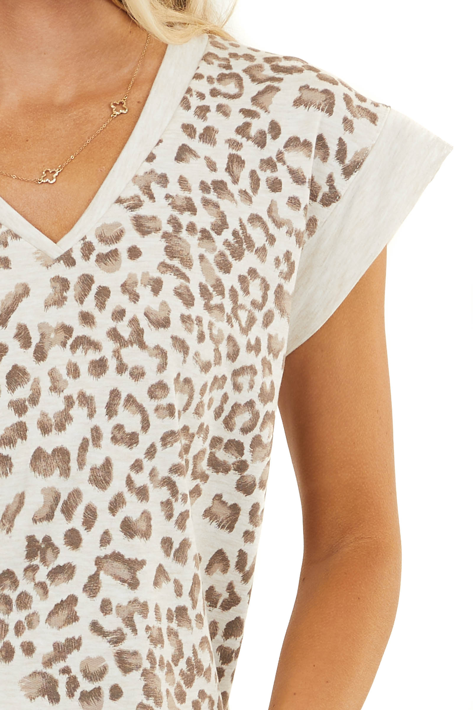 Cream Leopard Top with Contrasting V Neck and Short Sleeves